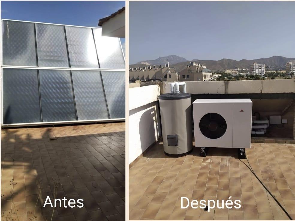 Sustitución de sistema solar térmico por instalación de sistemas de aerotermia en El Campello